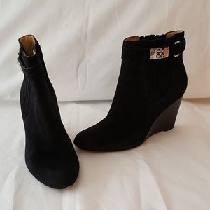 Coach Letty Black Suede Ankle Boots